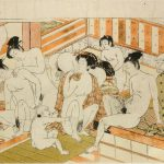 The scene of public baths in Edo period